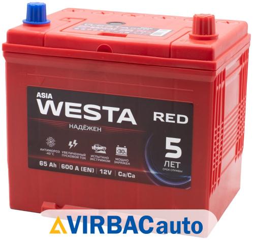 Купить Аккумулятор WESTA RED Asia 65 Ач 600 А обратная полярность, клемма стандартная, цены в Волгограде — интернет-магазин VIRBACauto